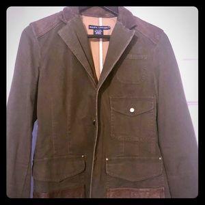 Ralph Lauren patched leather blazer.